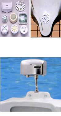"""<b style=""""color:blue;"""">尿石防止剤</b> トイレに置くだけでイヤな臭いをカットします。便器に付着した黄ばみやパイプ内の尿石は悪臭の元になり、トイレの配管やつまりを起こしたりします。臭いの原因となる尿石の付着を防止します。    <b style=""""color:blue;"""">ハイエストクール(自動洗浄及び尿石防止システム)</b> 機能1 押しボタン式のトイレをセンサー式に早変わり。センサーが使用者を感知して自動洗浄しますので手で触れることなく、衛生的で清潔感を保ちます。  機能2 利用者が立ち去ると自動洗浄した後、尿石防止薬剤が便器を洗浄します。 臭いの発生は、尿石、黄ばみ、配管からの臭いなど、尿石防止剤により防ぎます。  機能3 さわやかな香りのする芳香効果 機械の中に芳香剤が設置してあり利用者が小便器の前に立つと、さわやかな香りがしてきます。  ※電気・水道工事は不要です。"""