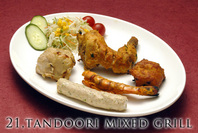 """<div style=""""font-size:x-small;"""">15,tandoori chicken (pieces of chicken withbone marinated in yogurt and spices, roasted in the tandoor) タンドールチキン (ヨーグルトとスパイスで味付けした串焼き骨付きチキン) (1p) 400円, (2p) 700円  16,chicken seekh kabab (chicken minece in spiced, roasted in the tandoor, indian sausage) チキンシークカバブ (チキンミンチを串焼きしたシークカバブ) (1p) 300円, (2p) 500円  17,chicken tikka (pieces of chicken without bone marinated in yogurt and spices, roasted in the tandoor) チキンテカー (ヨーグルトとスパイスで味付けした骨なしチキン) (1p) 300円, (2p) 500円  18,malai kabab (chicken marinated in yogurt, cream, cashewnut, roasted in the tandoor) マライカバブ (ヨーグルトクリームとキャスナツで味付けした骨なし串焼き) (1p) 300円, (2p) 500円  19,tandoori prawn (prawns marinated in yogurt andspices, roasted in the tandoor) タンドール プラウン (ヨーグルトとスパイスで味付けしたエビ) (1p) 400円, (2p) 700円  20,tandoori wings (chicken wings marinated in yogurt and spices, roasted in tandoor) タンドール 手羽先チキン (手羽先をヨーグルトとスパイスで味付けし、タンドールで焼いた手羽先チキン) (3p) 600円  21,tandoori mixed grill (5kinds of tandoori items) タンドール ミックス グリル (タンドール料理盛り合わせセット5品) ◎チキンシシカマブ ◎チキンテカ ◎マシカマブ ◎エビのタンドリン焼き ◎タンドールチキン 1,500円  22,full tandoori chicken (whole chicken marinated in yogurt and spices, roasted in the tandoor) -please order in advance- おいしいタンドール・ホールチキン (ヨーグルトとスパイスで味付けした人気のチキン) ※要予約(前日までに御注文下さい。) 1,800円</div>"""