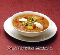 "<div style=""font-size:x-small;"">23,chicken curry (chicken cooked with spiced and vegetable base) チキン カレー (鶏肉をスパイスで味付けしたカレー) 900円  24,chicken masala (chicken and boiled egg cooked with vegetable and spiced) チキン マサラ (鶏肉のスパイスカレー) 1,000円  25,saag chicken (chicken spinach curry) サーグ チキン(骨なしチキンとホーレン草カレー) 1,000円  26,butter chicken (chicken tikka cooked in butter, cream, tomato gravy) バター チキン (チキンテカーをバターソースで調理したカレー) 1,000円  27,keema matter masala (minced chicken curry with green peas) キーマ マタール マサラ (挽き肉とグリーンピースのマイルドカレー) 900円  28,raja special chicken tikka curry (chicken tikka cooked in vegetable, spice and cashewnut, tomato gravy) ラジャー チキン テカー カレー (骨なしチキンとムガール風ソースで調理した特製カレー) 1,000円</div>"
