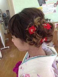 #前髪編み込み サイドアップ
