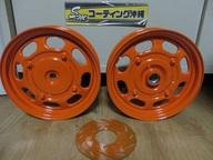 原付用ホイール  ★新色 オレンジ(ソリッド)  こちらも綺麗な色です。  ブレーキローターはガンコートのオレンジで施工しています。