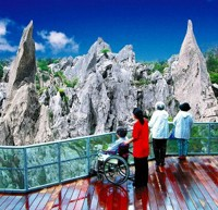 沖縄本島最北端に位置し、2億年前(古生代)の石灰岩が雨水などで長い年月をかけて侵食されてできたカルスト地形に巨大なガジュマルや熱帯植物を眺めながらのトレッキングが楽しめます。 また、バリアフリーコースも完備されています。  住所:国頭村字辺戸973 電話:(0980)41-8111