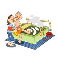 明るく広い浴室で、ツボ庭を見ながら快適な入浴が出来ます。  介護員が安全留意し、丁寧に入浴の介助をします。