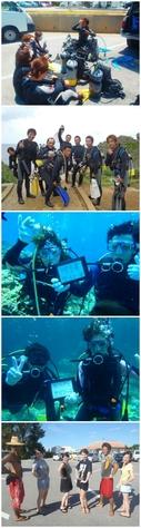 """<b style=""""color:deeppink;"""">シュノーケルの後に体験ダイビングで海遊び♪</b>"""