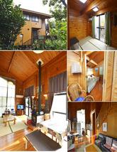 """<span style=""""color:#006600;font-size:16px;""""><b>木々に囲まれ、海も見わたせるBBQ場完備。木造タイプの建物です。</b></span> ・定員/約2~12名 ・料金/25,000円~35,000円</b> [1階](カラオケ設置) 14畳リビング、6畳の和室、浴室、トイレ [2階] 10畳の部屋、Wベット(×1)、シングルベット(×2)"""