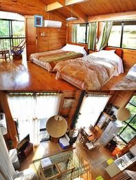 """<span style=""""color:#006600;font-size:16px;""""><b>木々に囲まれたファミリータイプの建物です。</b></span> ・料金/20,000円〜30,000円</b> [1階] 14畳リビング、6畳の和室、シャワー室、トイレ [2階] 10畳の部屋、Wベッド(×1)、シングルベッド(×2)"""