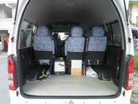 トランク部分はゴルフバッグが9本まで収納可能、旅行バッグも楽々収納できますので団体様、ご家族様等是非KMタクシーをご利用下さい!