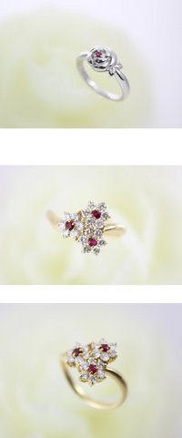 Pt ルビー リング  プラチナの花の中に小さなルビーが入ったリング。小さな石が入るだけでやさしいイメージになります。    K18 ルビー ダイヤ リング  ルビーとダイヤモンドで小さな3輪の花を咲かせた可愛らしいリングです。春夏に向けていかがでしょうか。