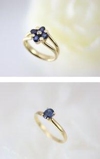 サファイヤは、ルビーと同じコランダム(銅玉石)という鉱石です。ルビーとは対照的な落ち着きのある輝きを放つのがサファイヤです。   古来より、人々は、深い青色にヒーリング効果による心の安らぎを得、誠実な心を育むパワーを持つとされてきました。   当店のサファイヤはオーソドックスなデザインのものから、色々ありますが、選ばせて頂いた中から一部 ご紹介させた頂きます。