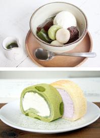 琉京クリームあんみつ ・ 抹茶と黒糖のゼリー ・ 抹茶黒糖ロール