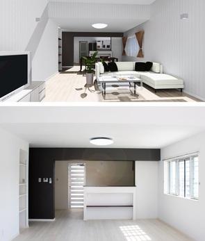 内観イメージ 堀天井があるリビングの開放感を壊さないよう明るめのクロスをメインにし、アクセントでキッチンとダイニングを仕切る壁に濃い色のクロスを配色。賃貸マンションを贅沢に仕上ました。