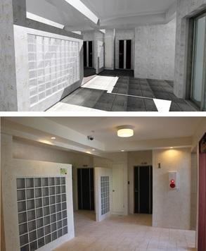 完成写真 リビングから玄関ホールに通じる扉の前に飾り棚を設置。日常使う鍵や携帯電話を置いたり花なども飾れるよう可動棚が設置されています。