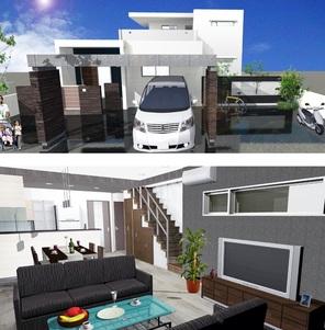 外観パース 太陽光を導入した平屋で40坪の贅沢な間取り。エコキュート・IHヒーターを設置したオール電化住宅となっています。