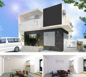 外観パース 1階に住宅 2階に2LDKの賃貸APを2戸 賃貸収入で住宅ローンを支払うことも可能です。駐車場台数や敷地の条件を考慮したプランとなっています。